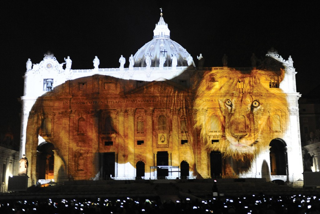 Image of Lion Projected on the Vatican