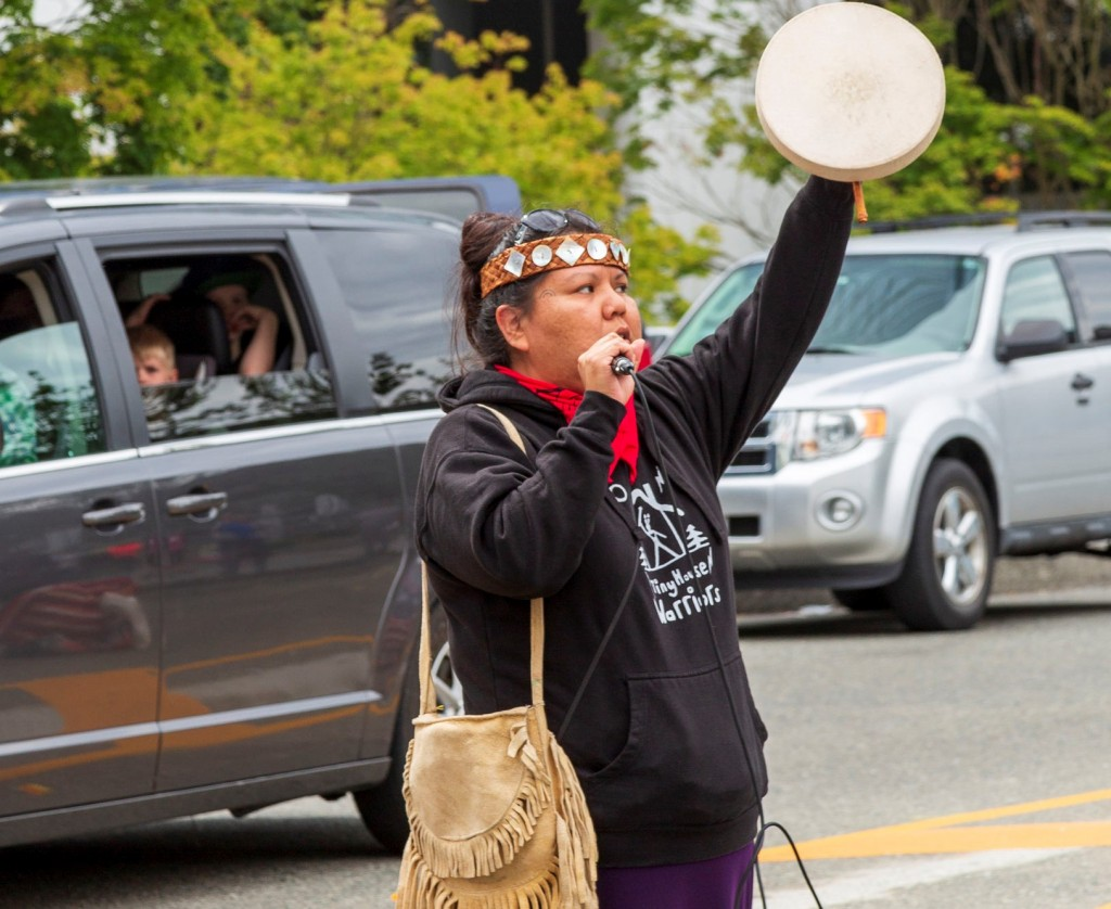 Native American Activist Woman With Drum Cropped