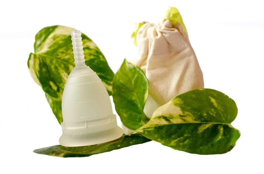 White Menstrual Cup With Green Leaves And Little Beige Bag Isolated In White Background.