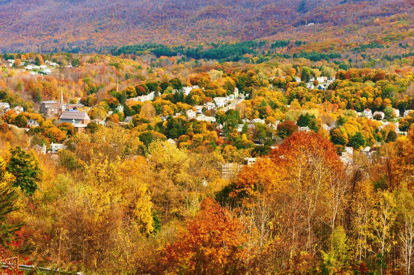 Autumn Landscape With Small Town In New England