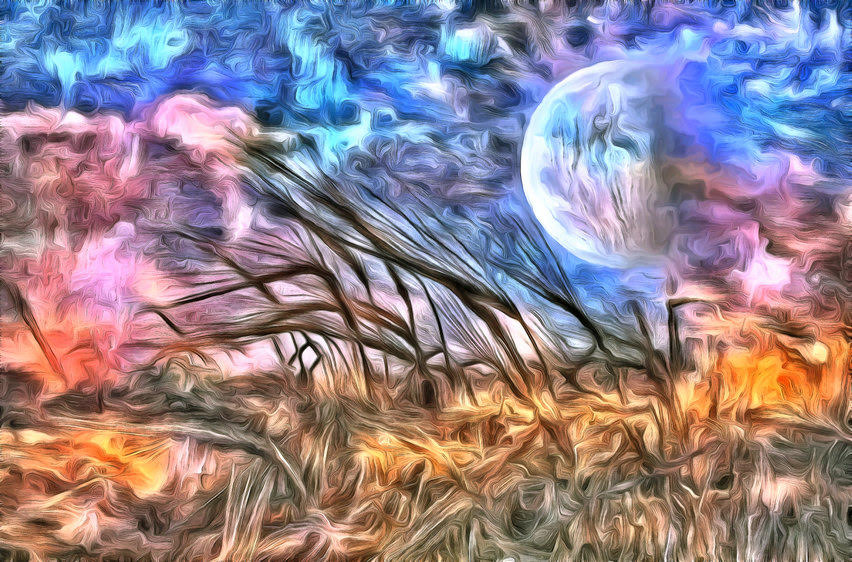 Surreal Painting. Field Of Wheat, Full Moon In The Sky. 3d Rendering