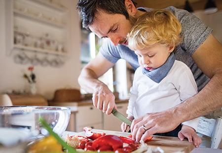 Cooking Vegan Man And Boy