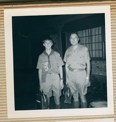 Tom Wood poses with his Eagle Scout son, Joe Wood. Photos Courtesy Tim Hunt