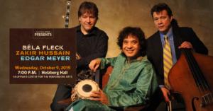 Béla Fleck, Zakir Hussain & Edgar Meyer @ Kauffman Center for the Performing Arts |  |  |