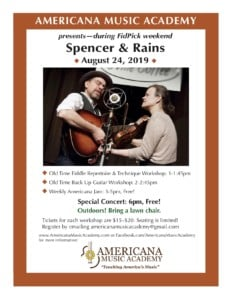 AMA Presents Spencer and Rains for 2019 FidPick Kickoff! @ Americana Music Academy | Lawrence | Kansas | United States