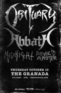 Obituary / Abbath @ The Granada | Lawrence | Kansas | United States