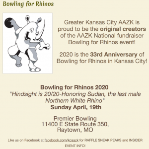"""33rd Annual Bowling for Rhinos: """"Hindsight is 20/20 - Honoring Sudan, the last male Northern White Rhino"""" @ Premier Bowling 