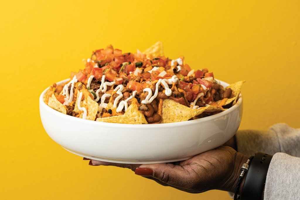 A photo of vegan nachos from Matties Foods in Kansas City