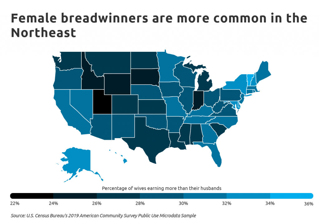 Chart4 Female Breadwinners Are More Common In The Northeast