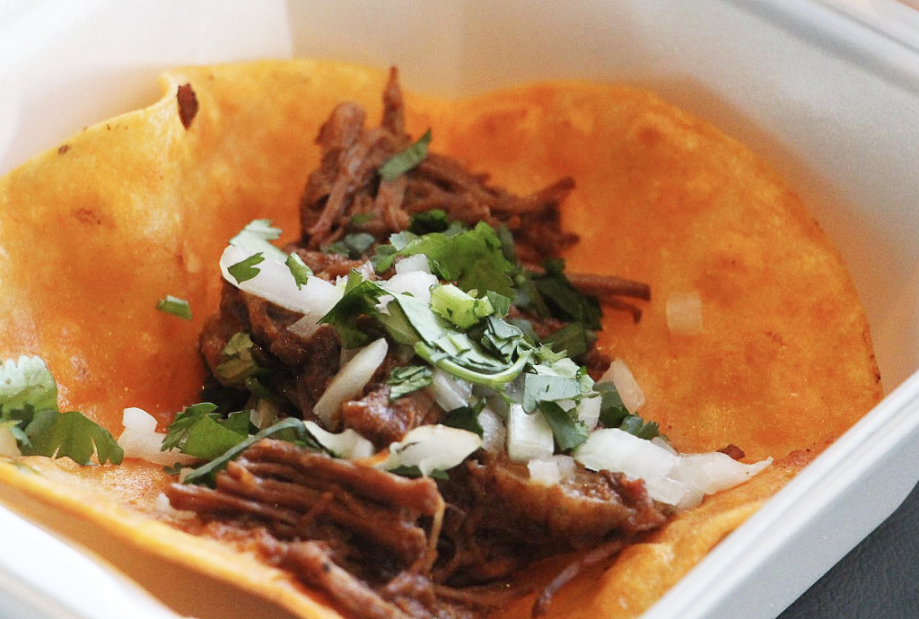 A photo of birria tacos from Taco Cacao