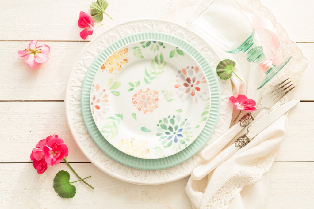 Easter, Spring Or Summer Table Setting Design From Above