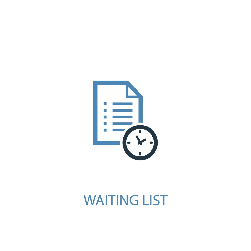 Waiting List Concept 2 Colored Icon. Simple Blue Element Illustration. Waiting List Concept Symbol Design. Can Be Used For Web And Mobile Ui/ux