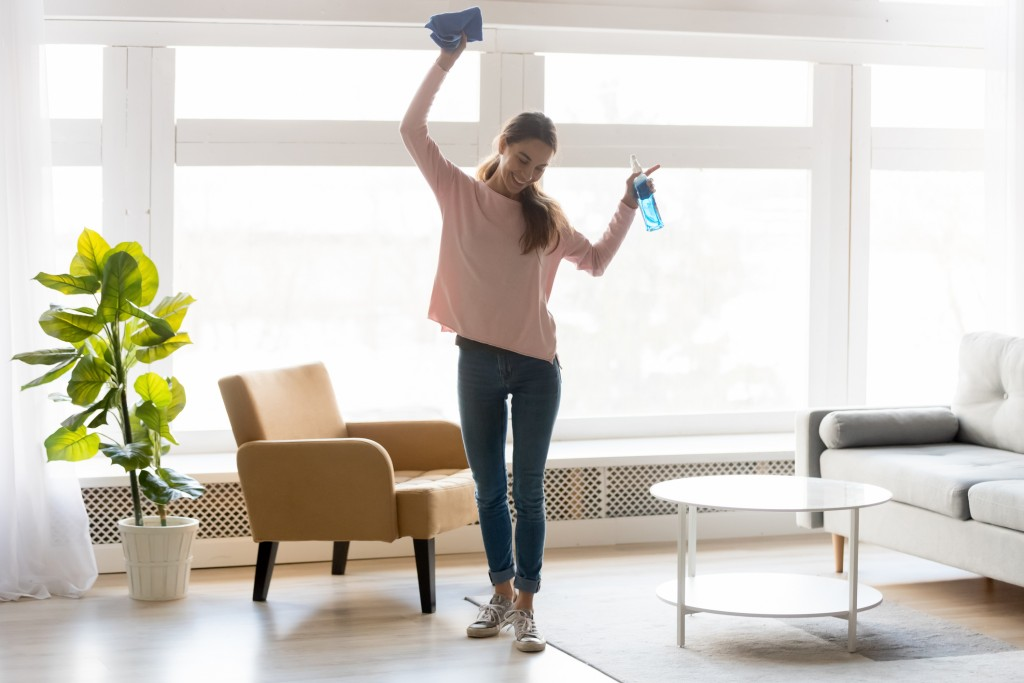 Cheerful Woman Makes House Cleaning Holding Rag Spray Bottle Detergent