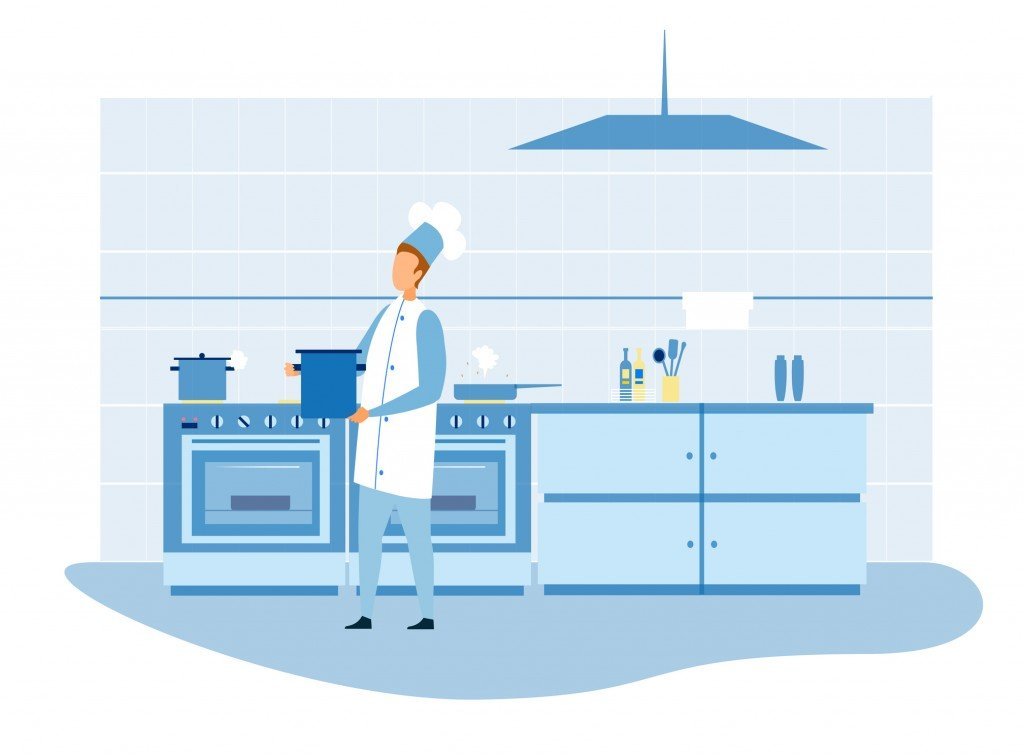 Master Chef Preparing Food In Kitchen Illustration