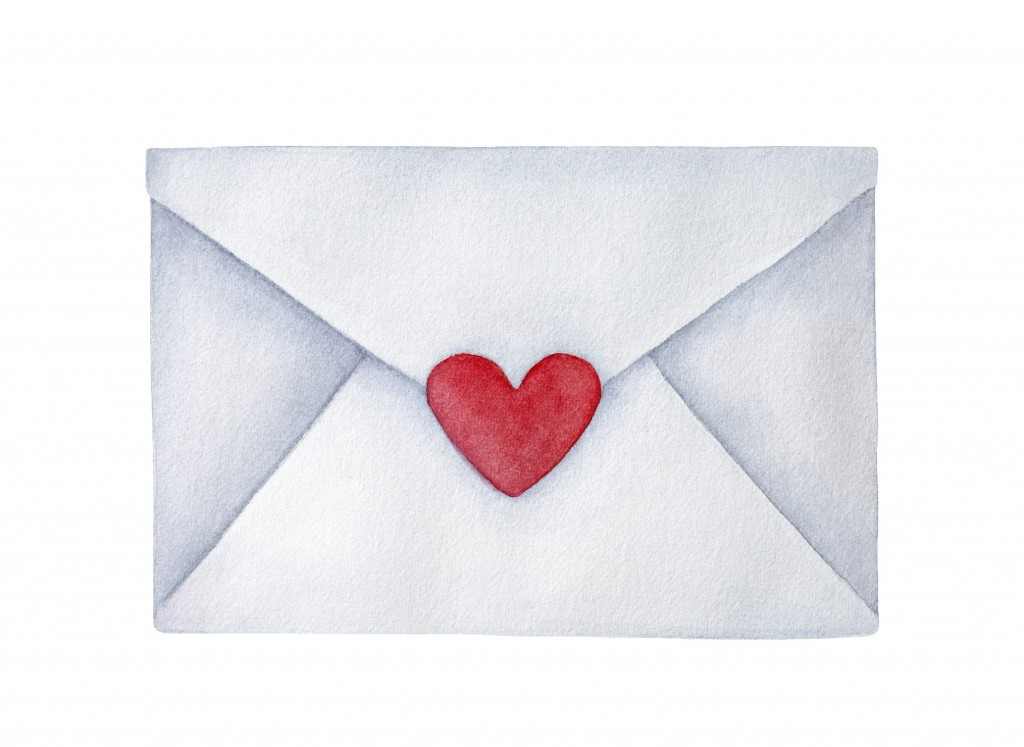 Closed Postal Envelope With Small Heart Shaped Sticker; Symbol Of Romance. Handdrawn Water Color Painting On White Background, Elegant Element For Design, Greeting Cards, Party, Wedding Invitations.