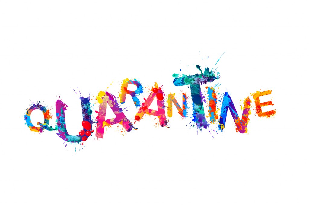 Quarantine. Splash Paint Vector Letters.