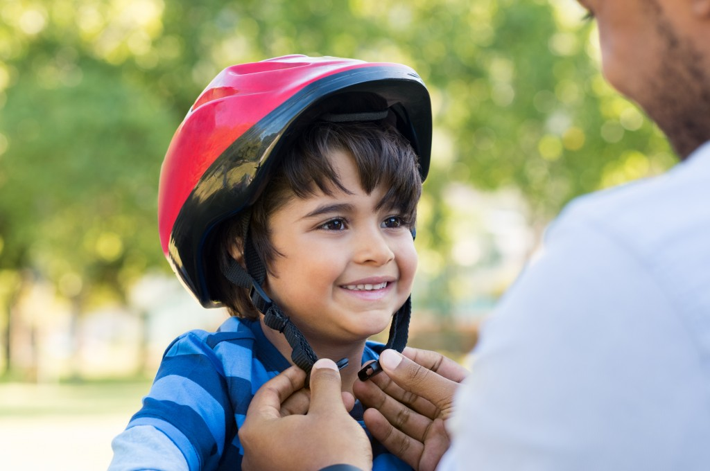 Boy Wearing Cycle Helmet