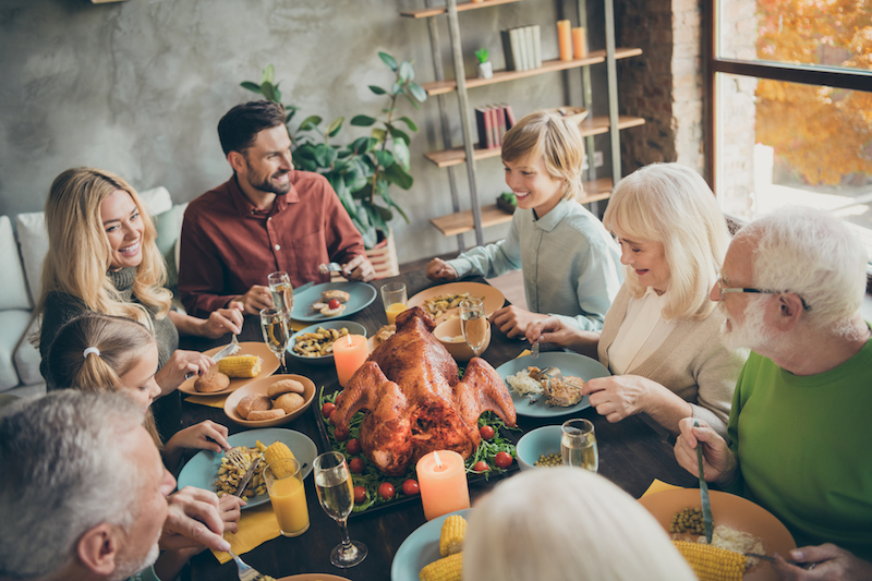 Portrait Of Nice Charming Cheerful Cheery Big Full Family Brother Sister Eating Domestic Brunch Lunch Feast Entertainment Delicious Meal Dishes In Modern Loft Industrial Style Interior House