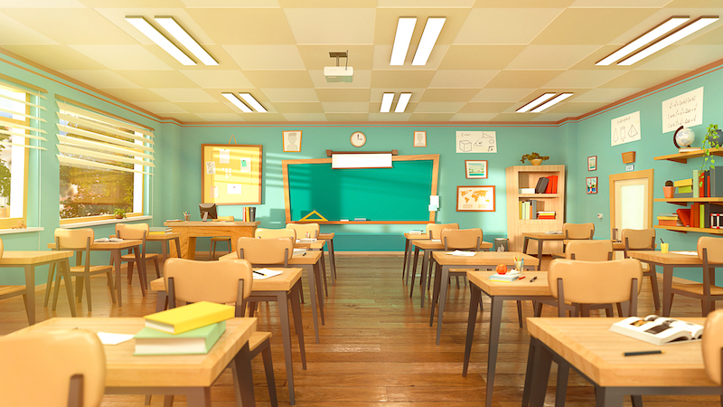 Empty School Classroom In Cartoon Style. Education Concept Without Students. 3d Rendering Interior Illustration. Back To School Design Template. Classroom In Quarantine On Coronavirus Covid 19.