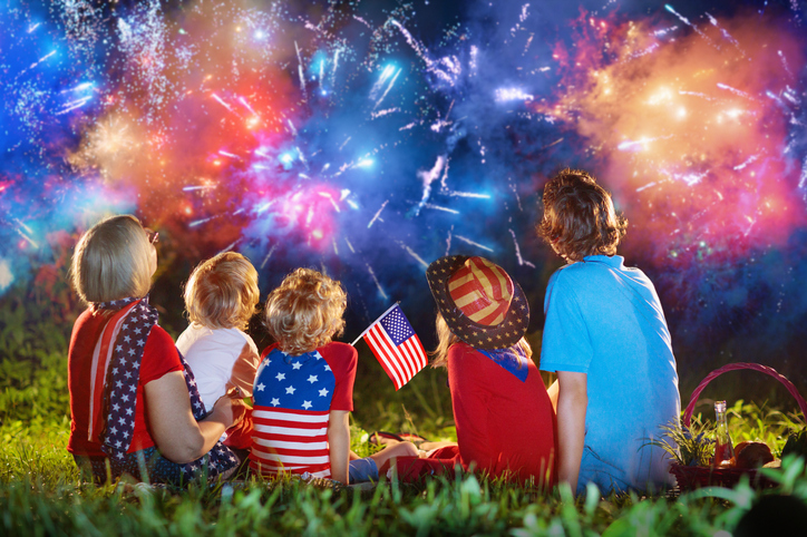 American Family On Independence Day. 4th Of July.