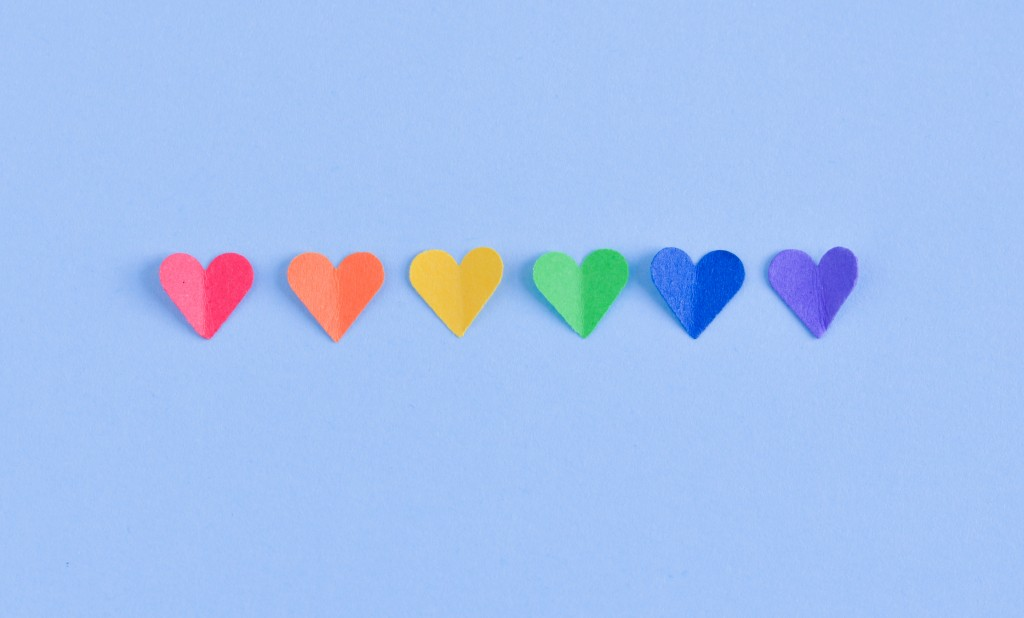 Row Of Hearts With The Colors Of The Gay Flag.