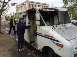 Mail truck fire