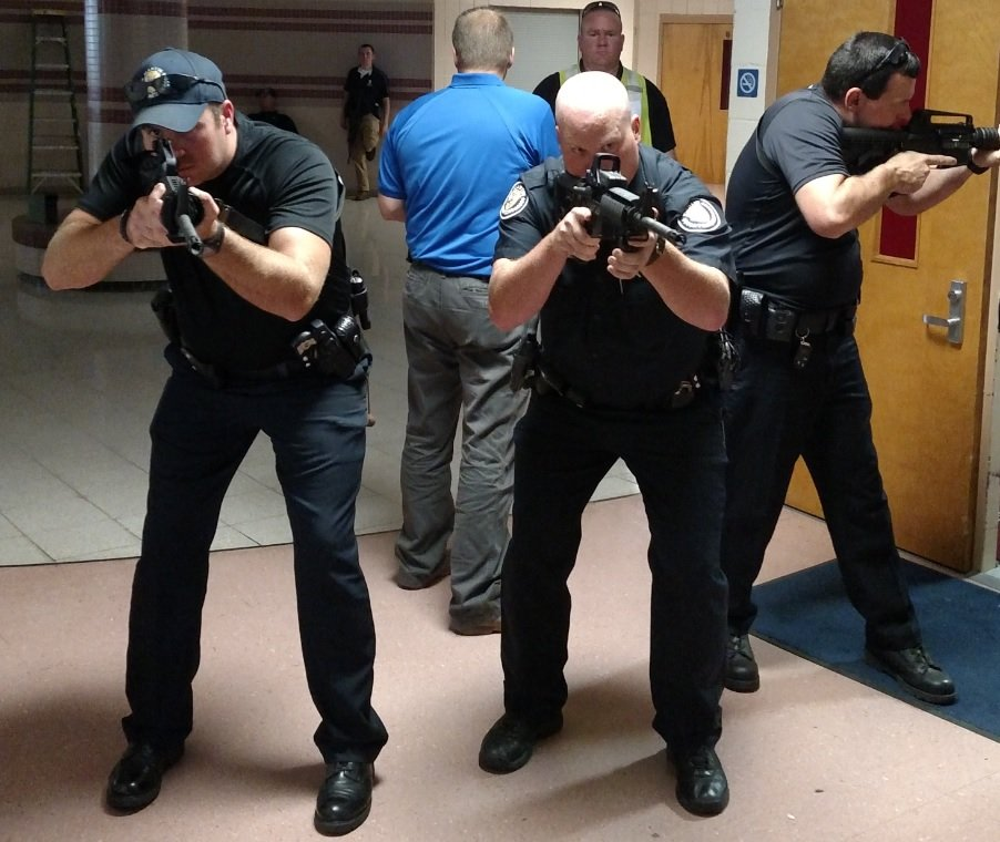 Officers With City Of Martin, UTM Practice Active Shooter