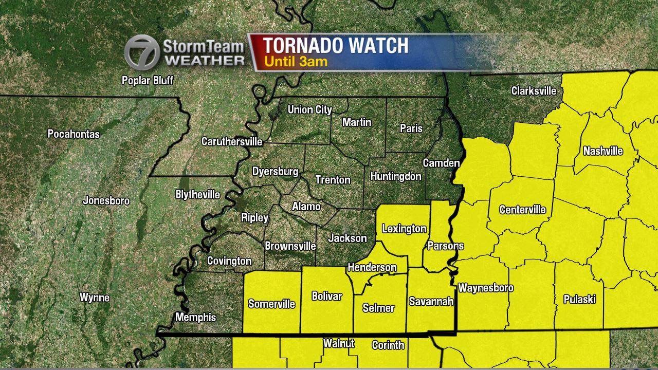 New Tornado Watch for Southwest TN Until 3am - WBBJ TV