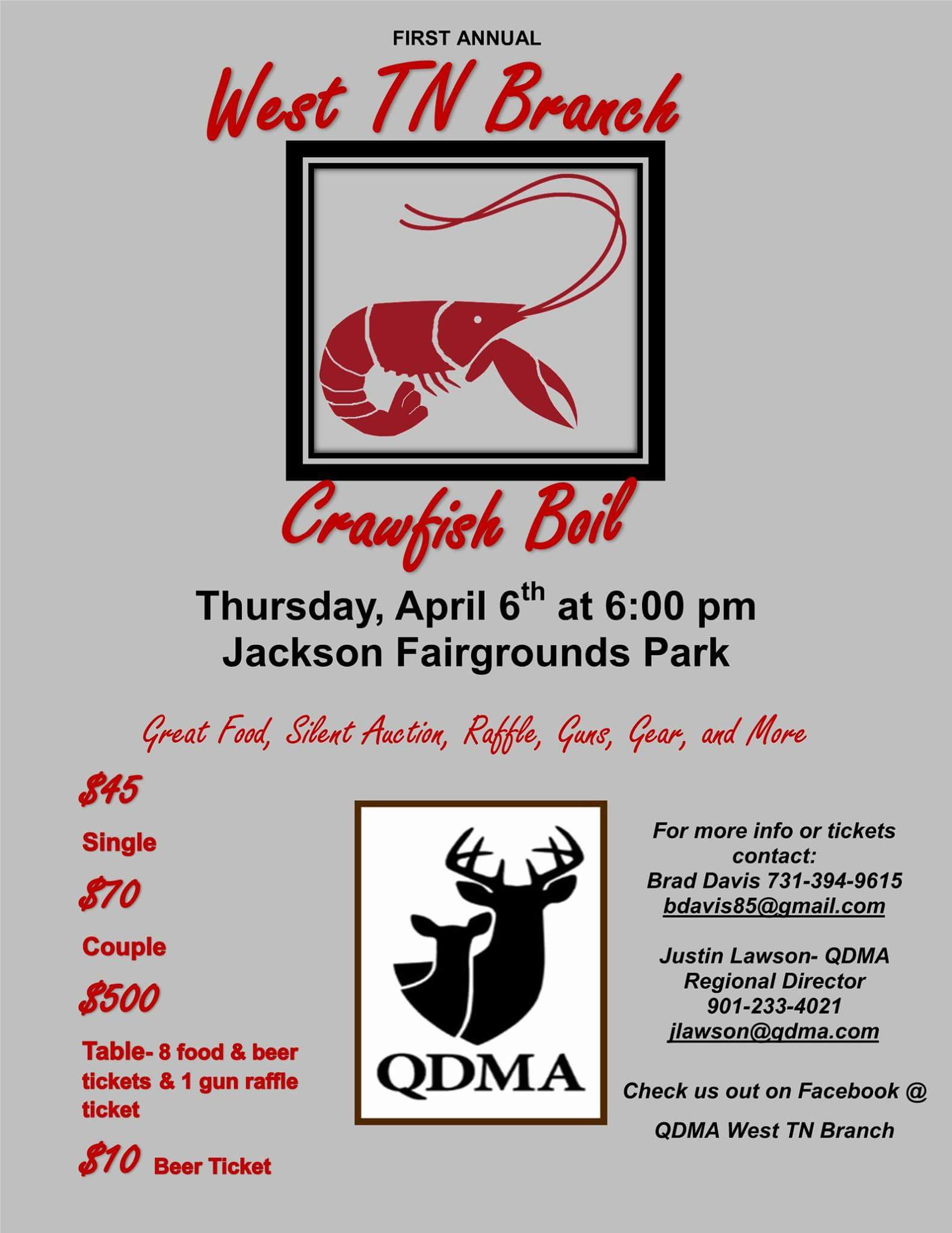 Fundraiser For The West Tn Branch Of The Qdmae Eat Crawfish And Enjoy  Raffles, Silent