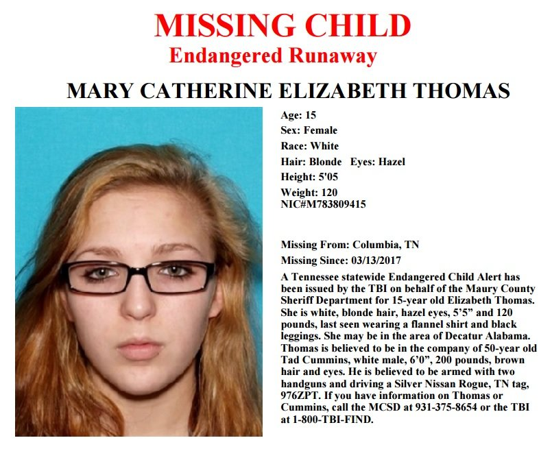 TBI Update On Amber Alert & Search For 15-Year-Old Tennessee Girl