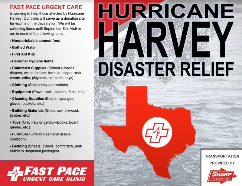 Fast Pace Clinics Accepting Donations For Harvey Relief Wbbj Tv