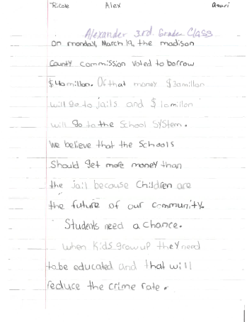 Students write letter to madison co commissioners asking for more we believe that the schools should get more money than the jail alex rosas 9 read from the letter expocarfo Images