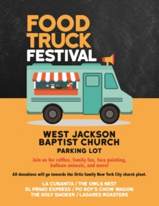 Food Truck Festival! @ West Jackson Baptist Church Parking Lot