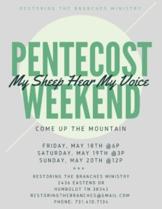 Pentecost Weekend @ Restoring the Branches Ministry