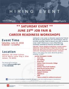 Job Fair & Career Readiness Workshop Event @ American Job Center | Jackson | Tennessee | United States