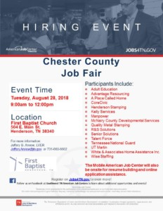 Chester County Job Fair @ First Baptist Church   Henderson   Tennessee   United States