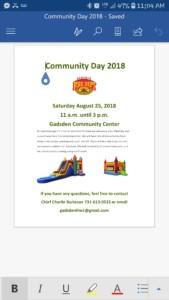 Gadsden fire dept community day @ Gadsden community center    Gadsden   Tennessee   United States