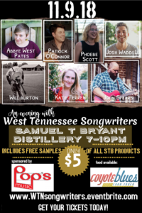 An Evening With West Tennessee Songwriters @ Samuel T Bryant Distillery | Jackson | Tennessee | United States