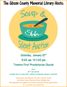Gibson County Memorial Library Soup & Silent Auction Fundraiser @ Trenton First Presbyterian Church