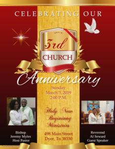 Holy New Beginning Ministries 3rd Church Anniversary/Homecoming @ Holy New Beginning Ministries