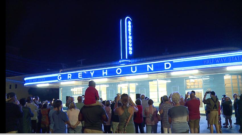 Greyhound bus station neon lighting illuminates for first