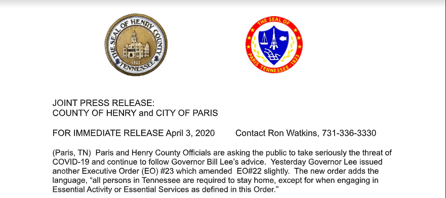 Press Release From Henry Co And City Of Paris