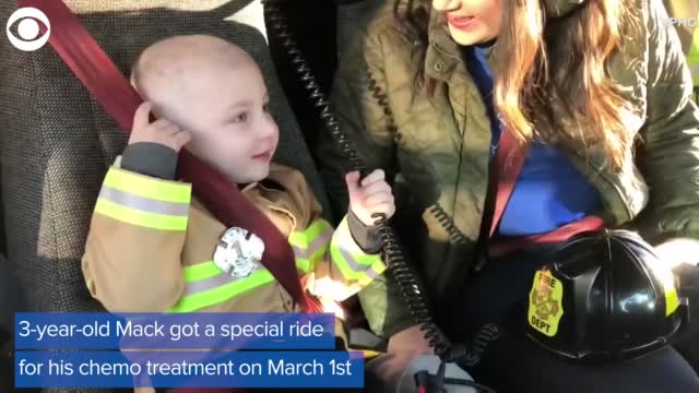 Firefighters Give Three Year Old Boy Ride To Chemo Treatment