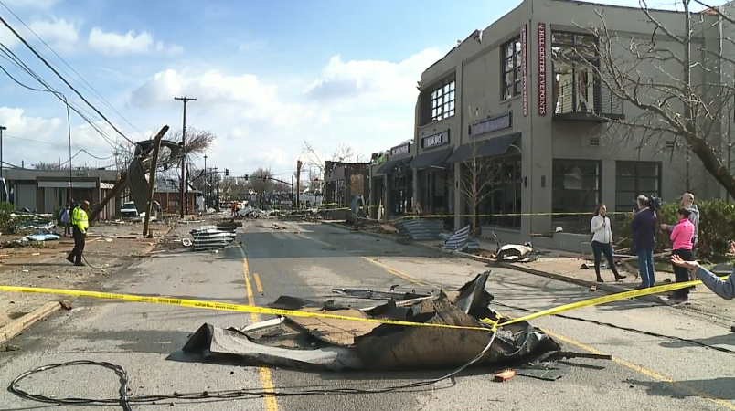 Damage Left Begind From A Tornado That Struck Nashville In March Of 2020