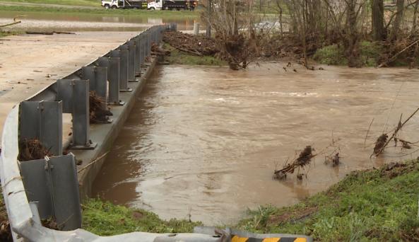Water Flows Under A Hardin County Bridge Following Overnight Rain