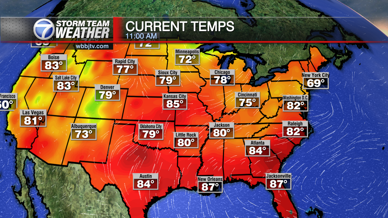 Maps WBBJ TV - Weather map of the us with temps