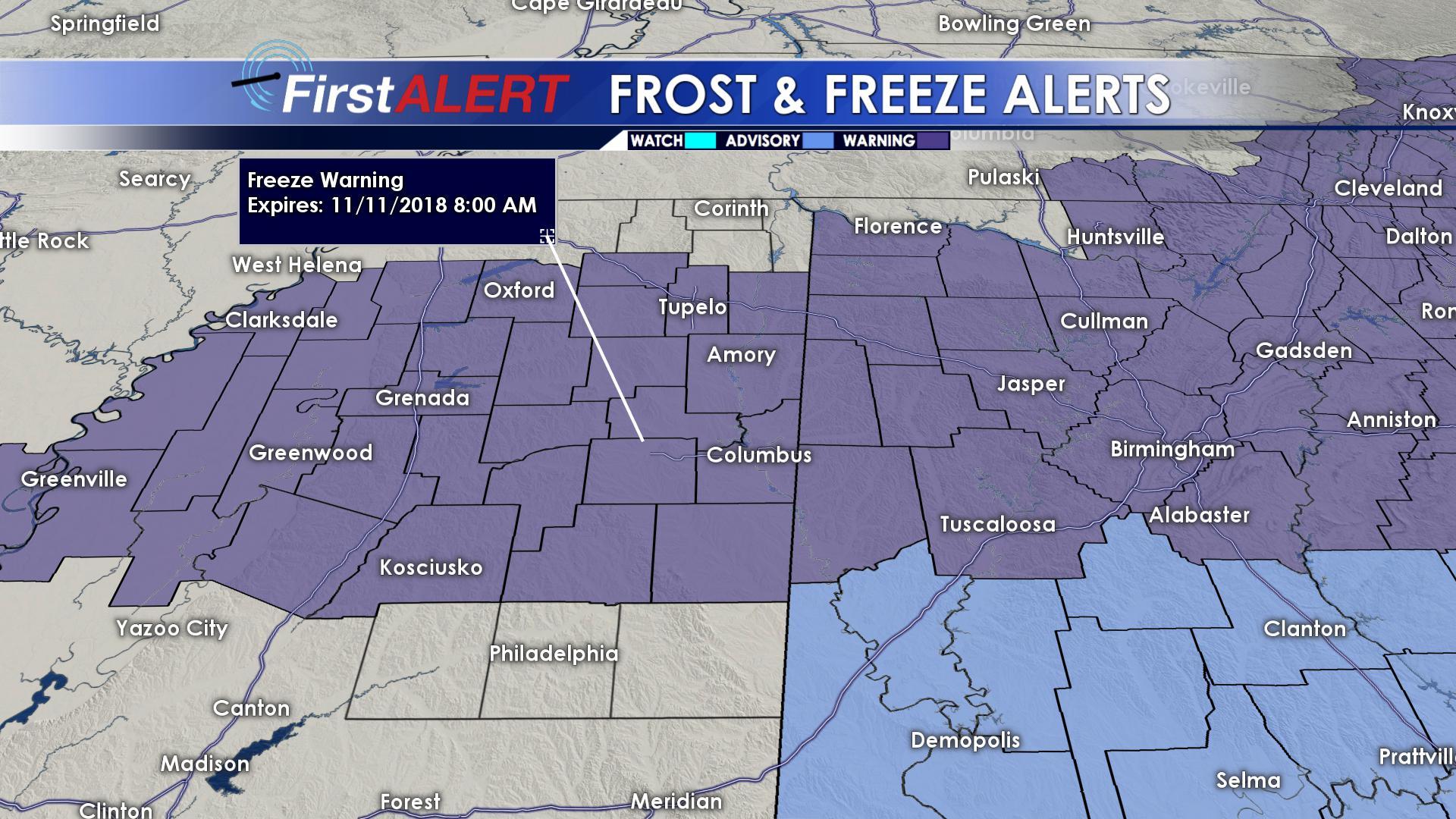 Freeze Warning until 8 AM (11/11)