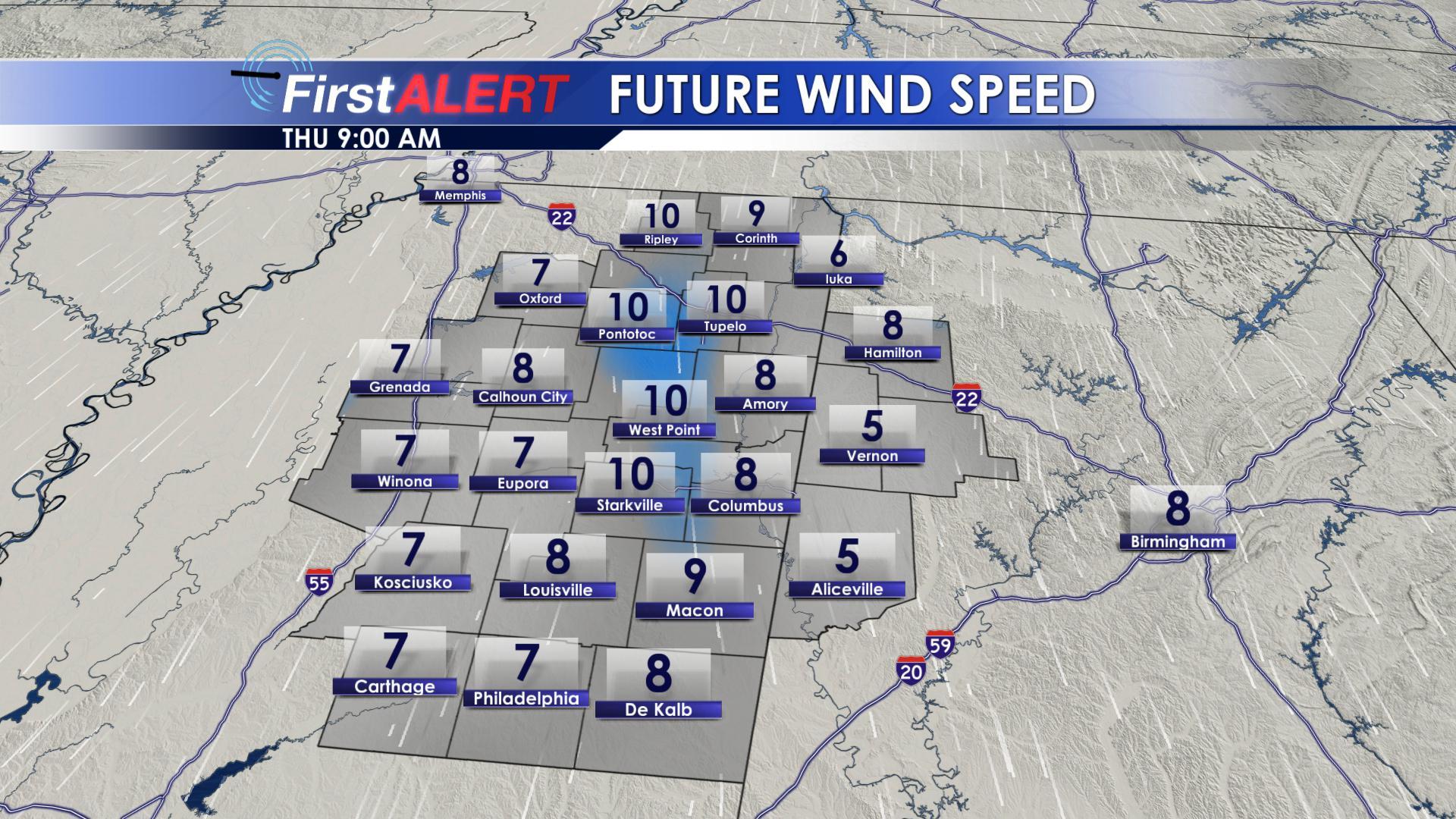 Wind Speeds Thursday AM