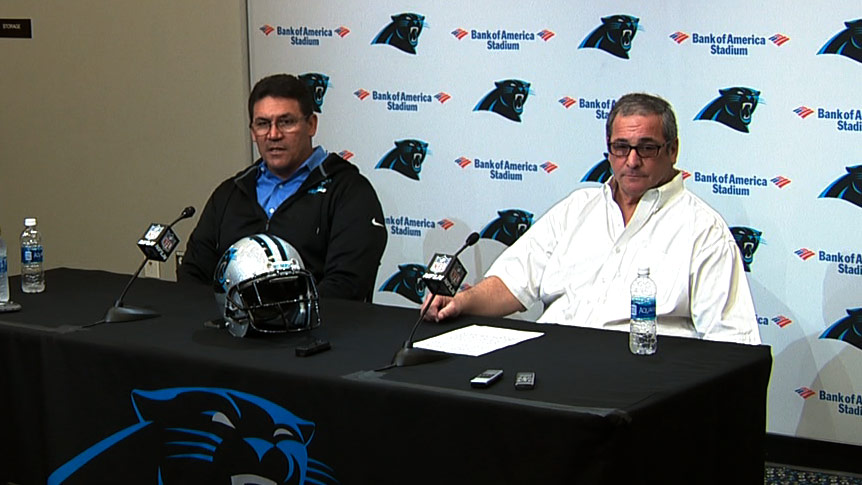 David Gettleman and Ron Rivera at Thursday's pre-draft press conference