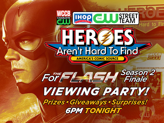 The Flash Season 2 Finale Viewing Party At Heroes Aren't Hard To Find comic book store